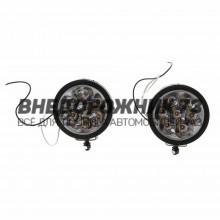 Противотуманная фара, круглая, d=9.5 см, 7 LED, 2 шт