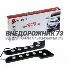 Дневные ходовые огни TORSO DRL-6-7, 6 LED-COB, 18 Вт, 12 В, 2 шт., металл, корпус черный