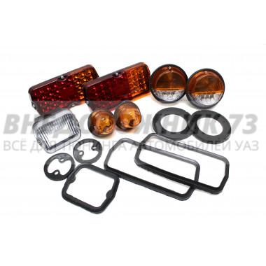 Комплект светодиодных фонарей с уплотнителями УАЗ 3151,452 «оранжево-белые»