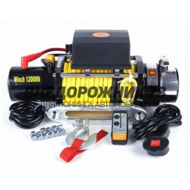 Лебедка электрическая 12V Electric Winch 12000lbs / 5443 кгс кевларовым тросом