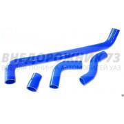 Патрубки радиатора ВАЗ 21213 (214) Нива силиконовые армированные синие (к-т 4 шт)