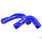 Патрубки печки ВАЗ 21214 Нива силиконовые армированные синие (к-т 2 шт)