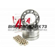 Расширители колеи УАЗ Профи (6 отв.) (колесные проставки) 30 мм (сталь) 4 шт с запрессованными шпильками